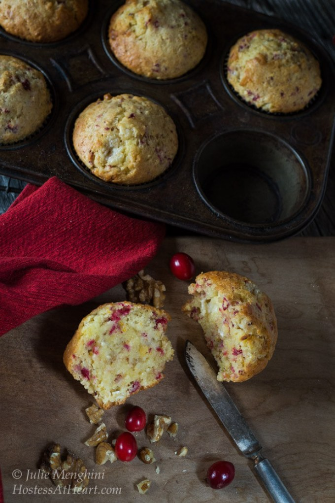 A soft and buttery Cranberry Orange muffin that is quick and easy. This muffin is perfect for breakfast, brunch or for any occasion. | Hostess At Heart