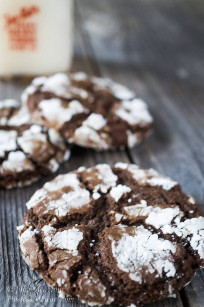 Delicious Dark Chocolate Molasses cookies that are special enough to be a Holiday cookie, but easy enough to enjoy anytime. | Hostess At Heart