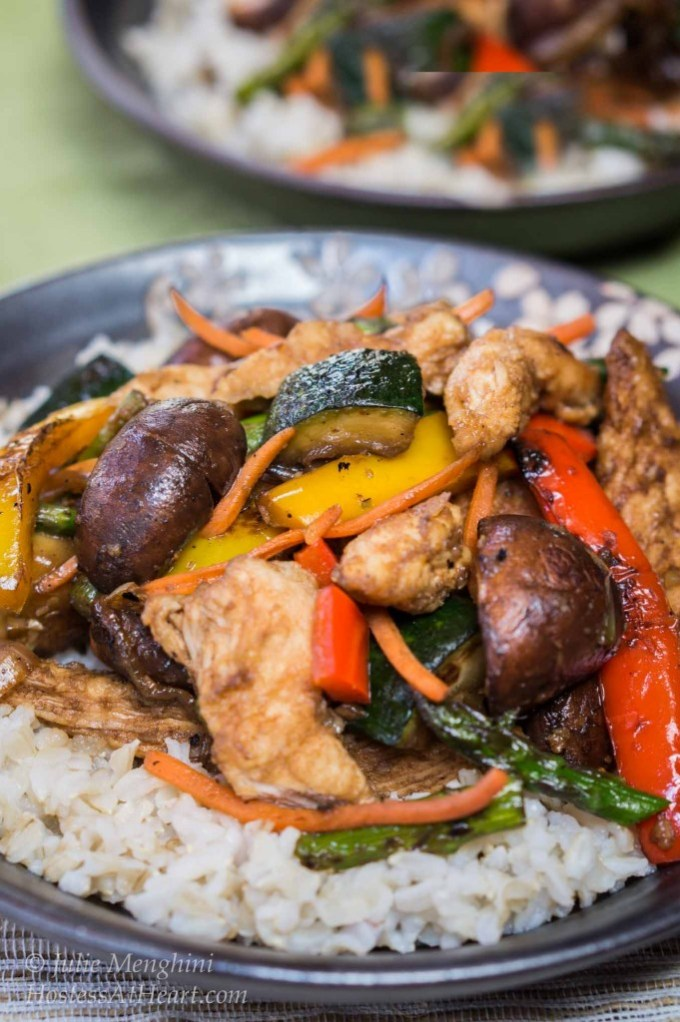 Mongolian Chicken with Roasted Vegetables is quick and easy to make. Best of all, it is delicious to eat and versatile enough that anyone would love it   HostessAtHeart.com