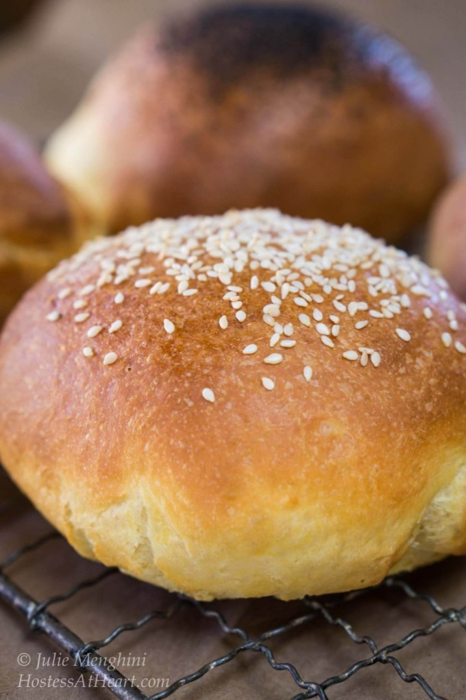 These Brioche buns are soft and pillowy yet strong enough to handle the biggest of sandwiches or burgers. They can be topped with anything you like or left plain. Their buttery flavor is anything but plain   HostessAtHeart.com