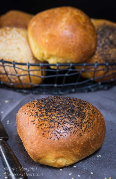 This recipe makes a Brioche bun that is soft and buttery yet strong enough to handle the biggest of sandwiches or burgers| HostessAtHeart.com