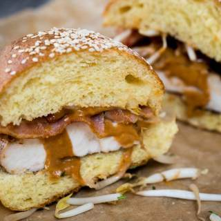 This Thai Peanut Chicken Sandwich recipe is sweet, savory, spicy, creamy and crunchy. But best of all, it's delicious! HostessAtHeart.com