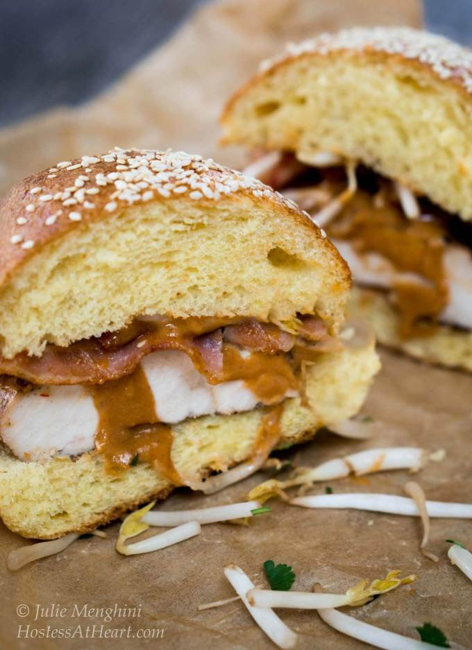 This Thai Peanut Chicken sandwich is sweet, savory, creamy and crunchy. It is definitely not your average sandwich and deserves the distinction of being a main dish meal. HostessAtHeart.com