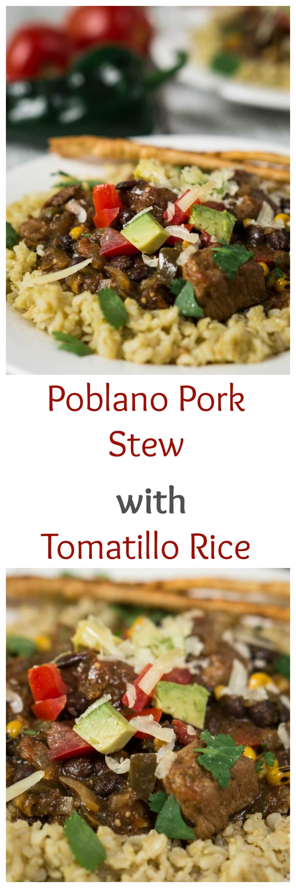 Poblano Pork Stew over Tomatillo Rice is rich in flavors and has a deliciously warm kick. It can be made in a crockpot or simmered on the stove. Either way, you're going to love this dish | HostessAtHeart.com #poblano #fiestamexicana #mexicanfood | Mexican Food | Poblano Peppers