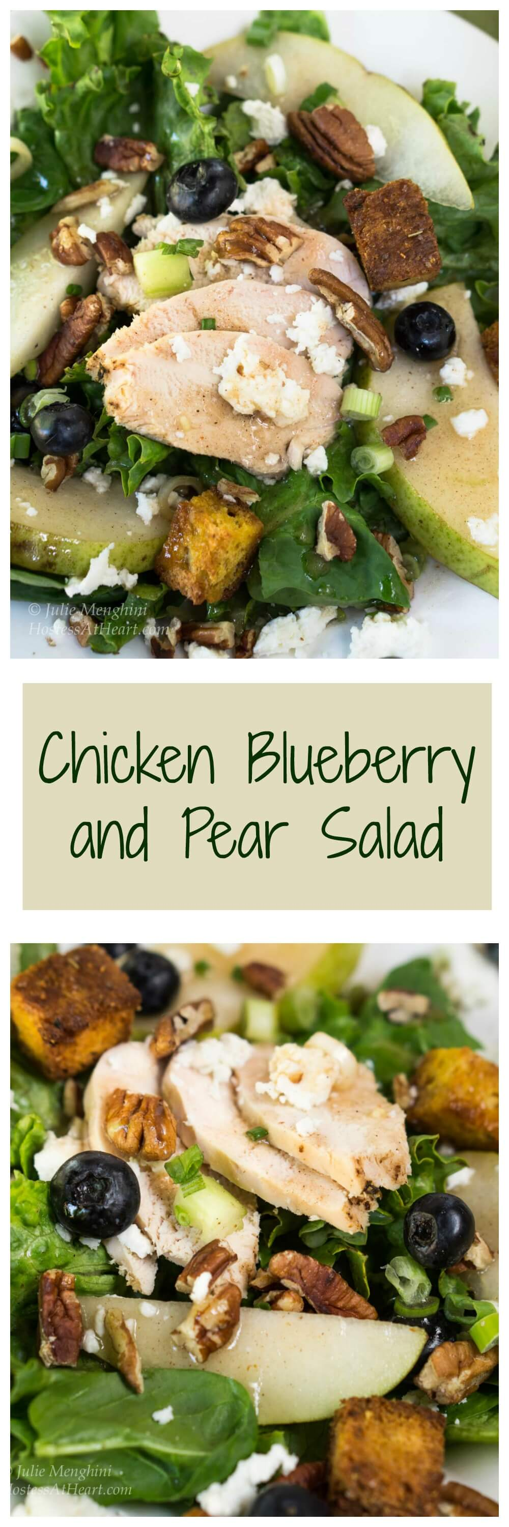 Chicken Pear Salad with Goat Cheese sounds like a mouthful to say, but that's what you will wantonce you've tried the Pear Dressing! #easysaladrecipe, #freshsaladrecipe, #healthyrecipes #chicken #healthy
