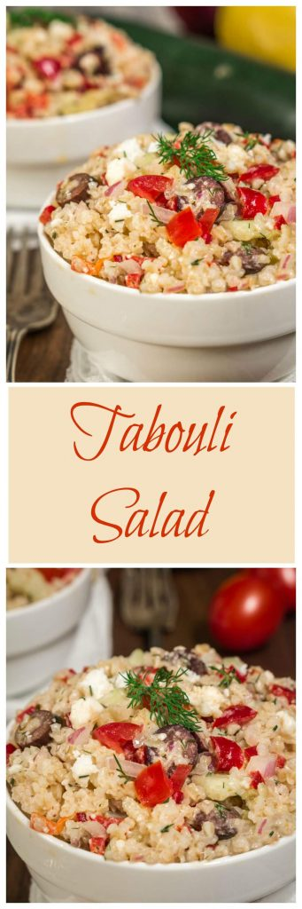 Tabouli Salad has Greek flavors and is a quick, delicious and healthy salad to make. It can easily be made ahead of time and is perfect for any occasion   HostessAtHeart.com