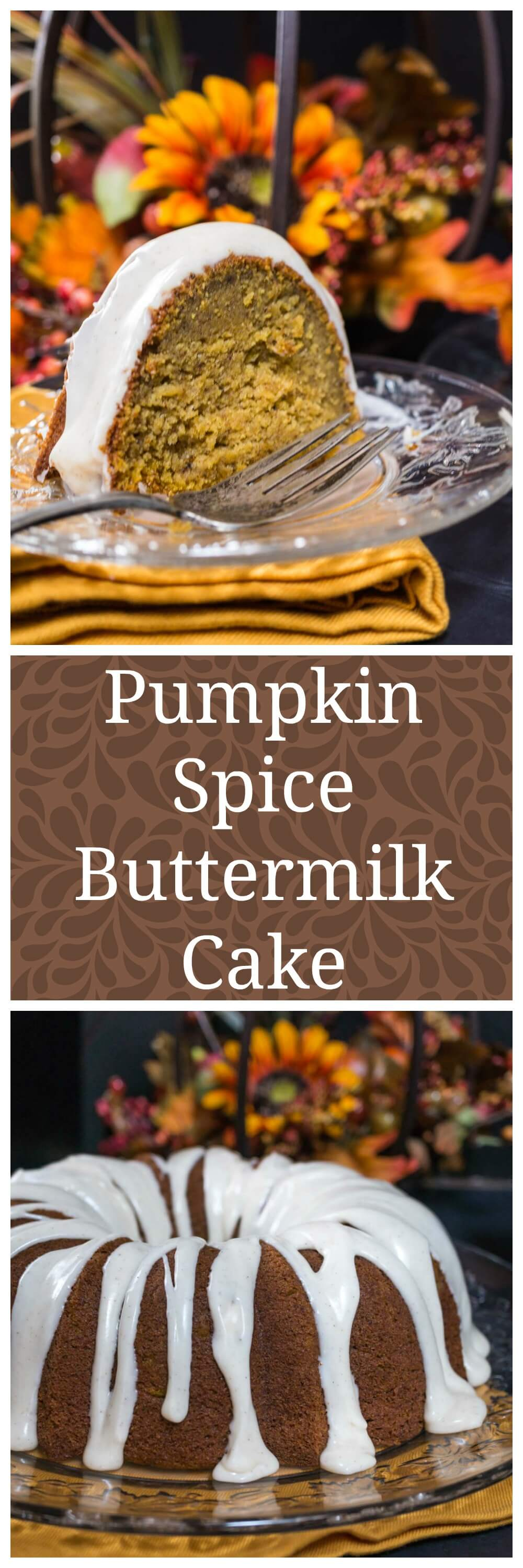 Pumpkin Spice Buttermilk Cake with a warm Cinnamon Cream Cheese icing is perfect for Fall entertaining, Holidays or any occasion.