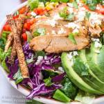Close up of chipotle grilled chicken salad