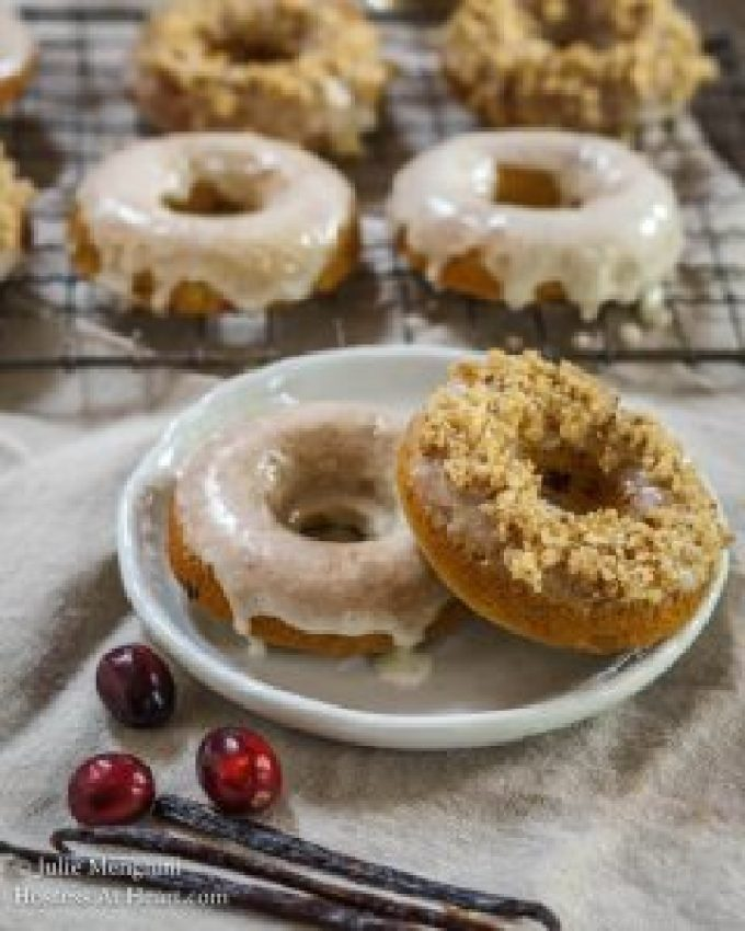 Cranberry Vanilla Baked Donuts are soft, tender, and delicious. They can be made in a jiffy and topped with anything you desire   HostessAtHeart.com