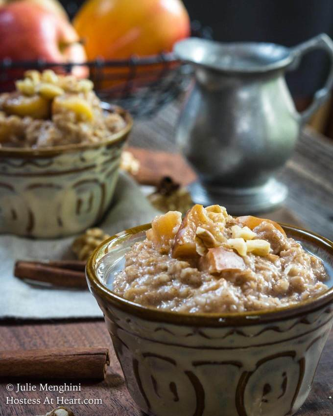 Waking up to a warm breakfast that smells like apple pie is a great way to start your day. Crockpot Spiced Apple Steel Cut Oats is delicious, healthy, and will keep you satisfied until lunch.   HostessAtHeart.com