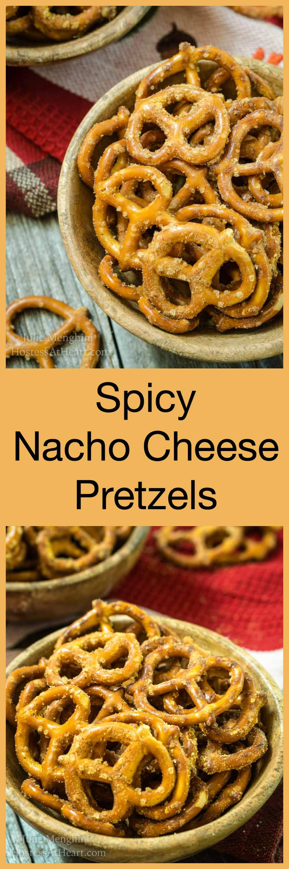Spicy Nacho Cheese Pretzels are crunchy, buttery, salty and spicy.  They're a pull up your sleeves and grab a beverage kind of tailgating snack. #appetizer #partyfood #footballsnack #helmetsnackmix