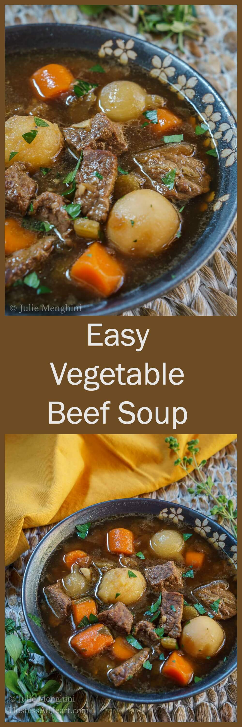 Easy Vegetable Beef Soup is nutritious and delicious. It can be put together and on the table in no time at all and is the perfect meal after a long or busy day. | HostessAtHeart.com