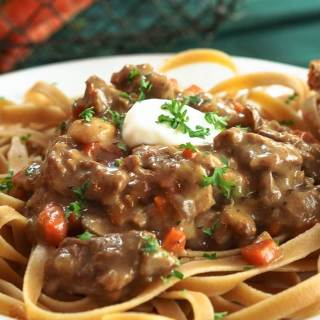 This Beef Stroganoff recipe is loaded with tender beef. It's creamy delicious and the only thing missing from this comfort food is the guilt. | HostessAtHeart.com