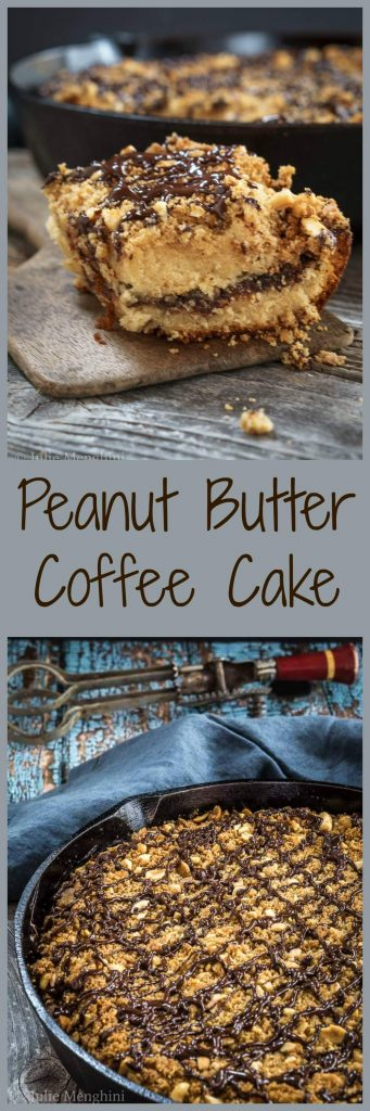 Peanut Butter Coffee Cake is a heavenly mixture of chocolate, peanut butter, and Nutella all under a coating of streusel topping. Nothing is missing from this delicious dessert. | HostessAtHeart.com