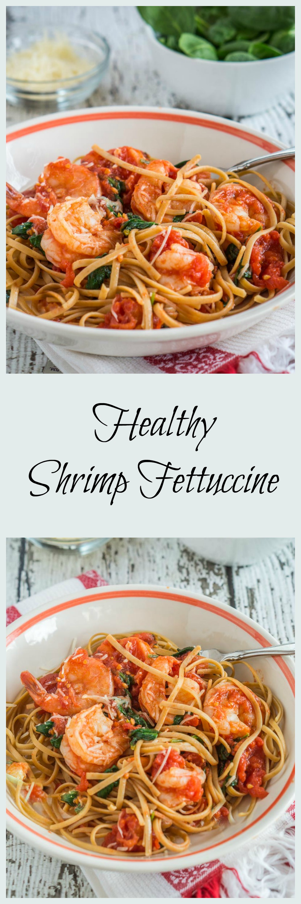 Healthy Shrimp Fettuccine can be on your table in 10 minutes. This recipe proves that you can put a dish on your table that is quick, healthy and delicious. | HostessAtHeart.com #HealthyFood #HeartHealthyRecipe #Pasta