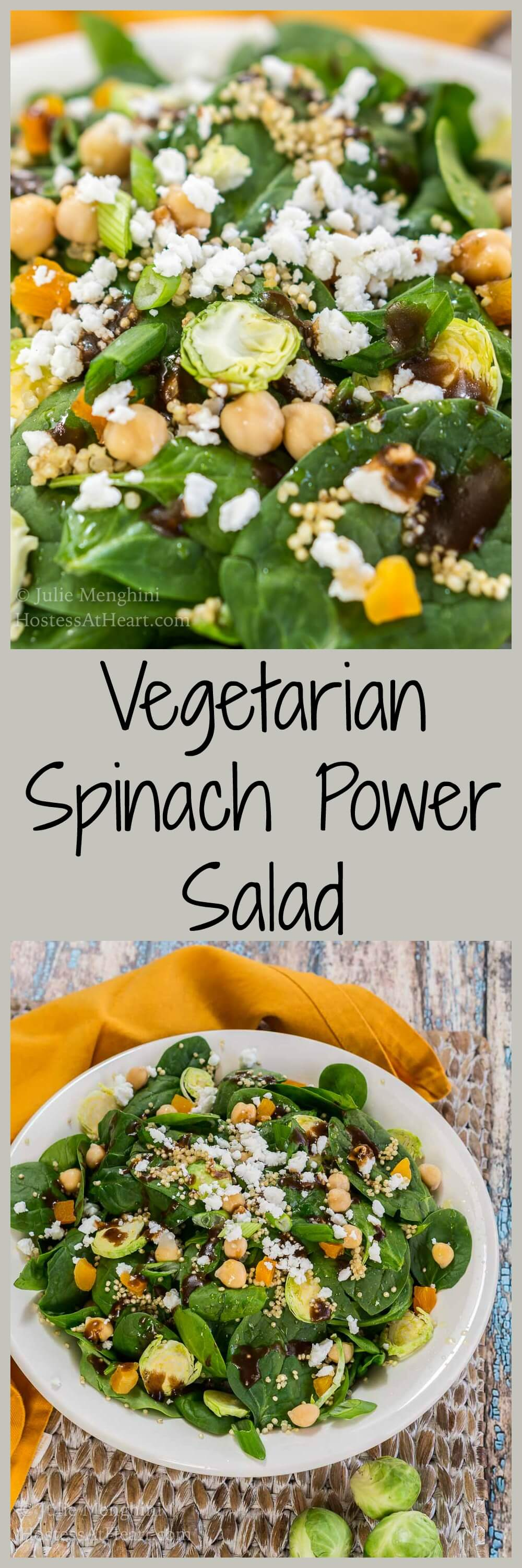Popeye Approved Vegetarian Spinach Power Salad is full of good for you ingredients, flavor and texture that will leave you feeling healthy and satisfied. | HostessAtHeart.com #healthyfood #spinachsaladrecipes #whatsforlunch #vegetarianfood #spinachsalad | Spinach Salad | Healthy Meal Ideas | Dinner Salads | Vegetarian Recipes