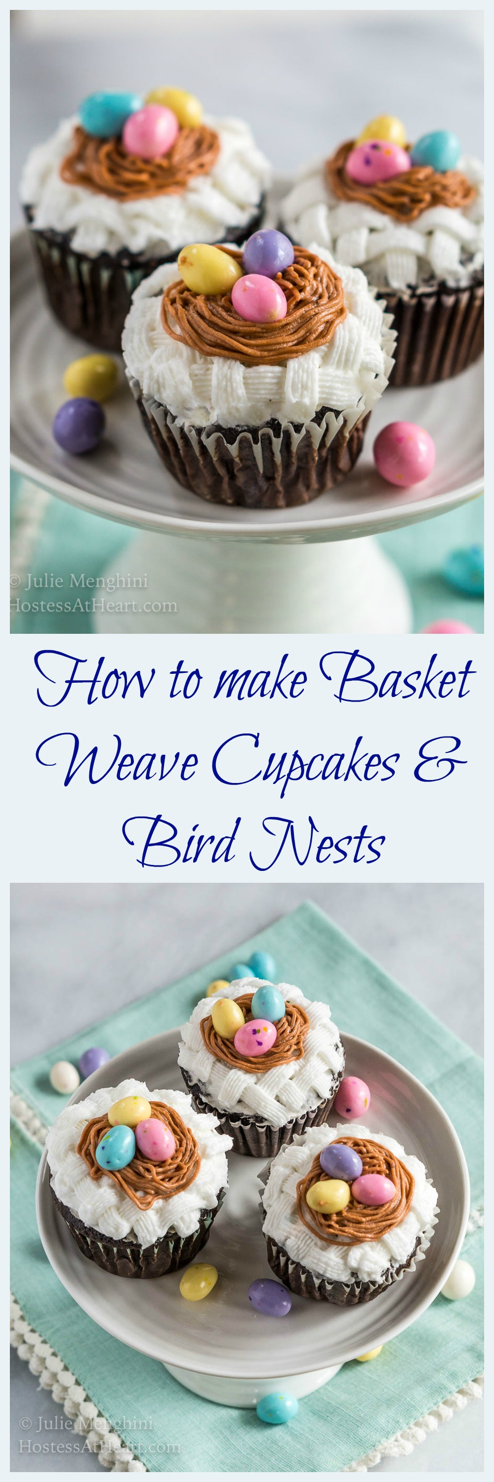 Learning how to create basket weave cupcakes with bird nests is not difficult.  It only uses two decorating tips and is perfect for Spring or Easter. | HostessAtHeart.com #cakedecorating #Easter #cake | Easter Cupcakes | Easter Cake Decoration | Cupcake Decorating