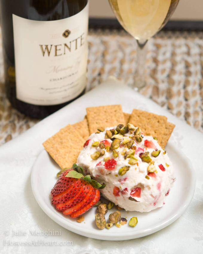 Wente Chardonnay is one of our favorite wines! This year I'll be serving this great Wente Chardonnay with this Easy Strawberry Goat Cheese Ball! | HostessAtHeart.com