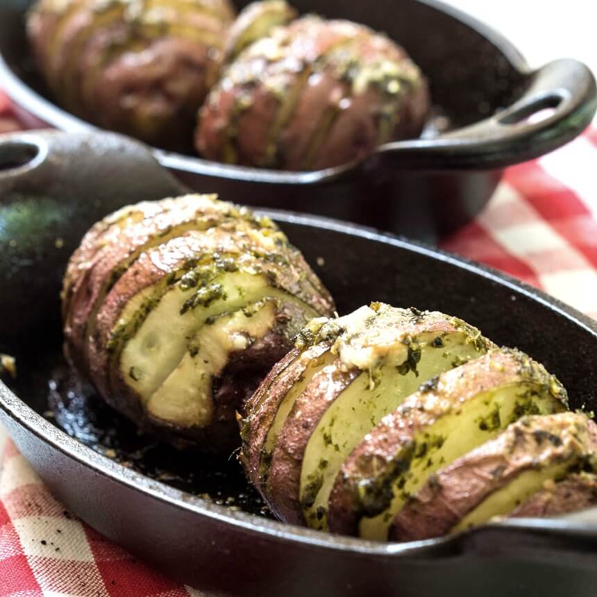 Garlic-Basil Red Hasselback Potatoes With Dorot