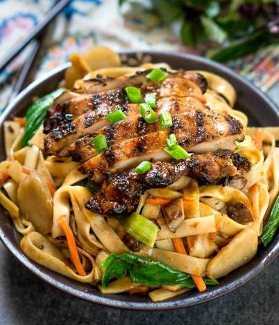 Saucy Thai Basil Chicken Noodle Bowl