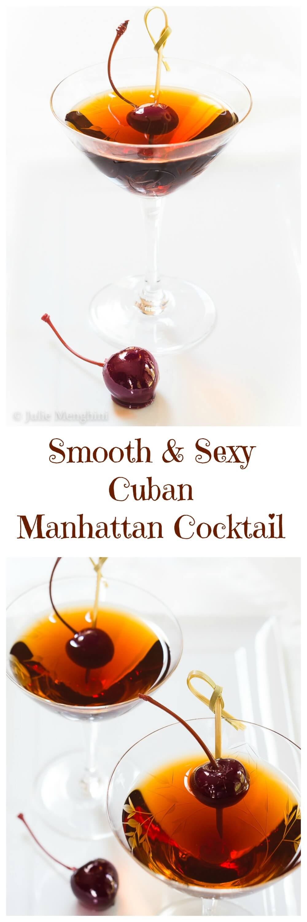 A Smooth and Sexy Cuban Manhattan Cocktail is a lot cheaper than therapy and it's like taking a little vacation without ever leaving home. | Hostessatheart.com