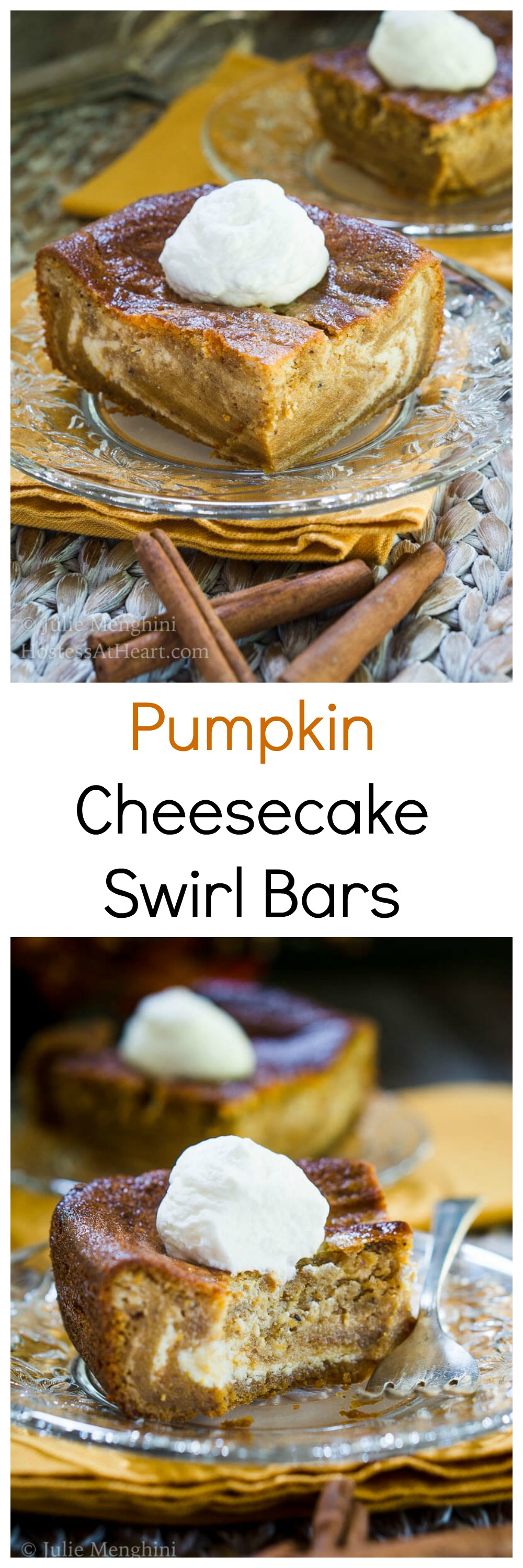 Smooth & Creamy Pumpkin Cheesecake Swirl Bars are the definition of fall and will be a delicious show-stopper at your next get-together or Holiday dinner! | HostessAtHeart.com