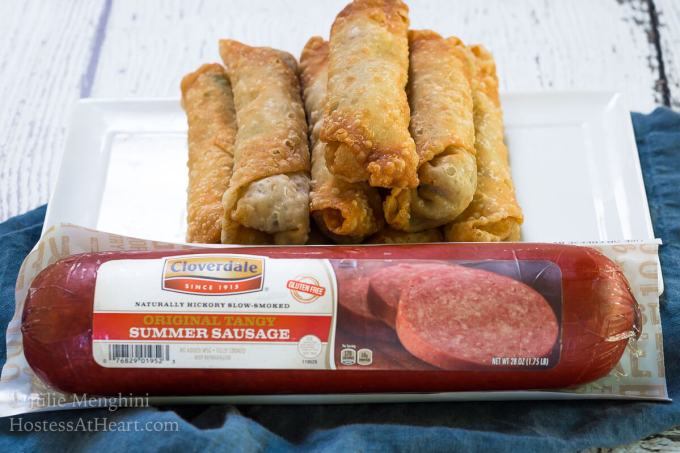 Zesty Garlic Summer Sausage Egg Rolls were announced as one of the best ever in a recent poll. They make a perfect appetizer or meal. | HostessAtHeart.com