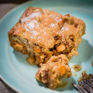 Butterscotch Pecan Bars with Brown Sugar Drizzle