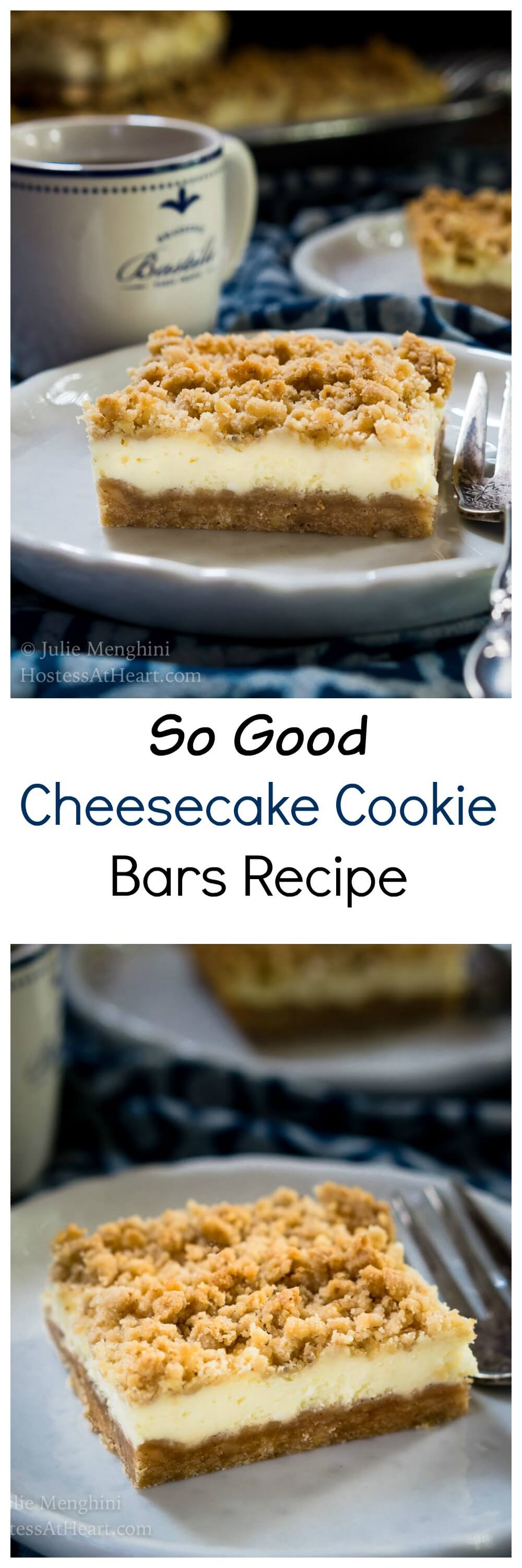 These Cheesecake Cookie Bars are So Good.  They're quick and easy to make and taste like a fancy cheesecake without all of the fuss.  #Cheesecakedessert #Cheesecake #homemade #sweet | Dessert | Baking | Cookie Bars