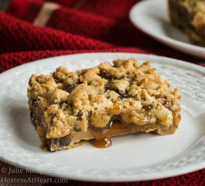 Triple Chocolate Caramel Cookie Baron a white plate