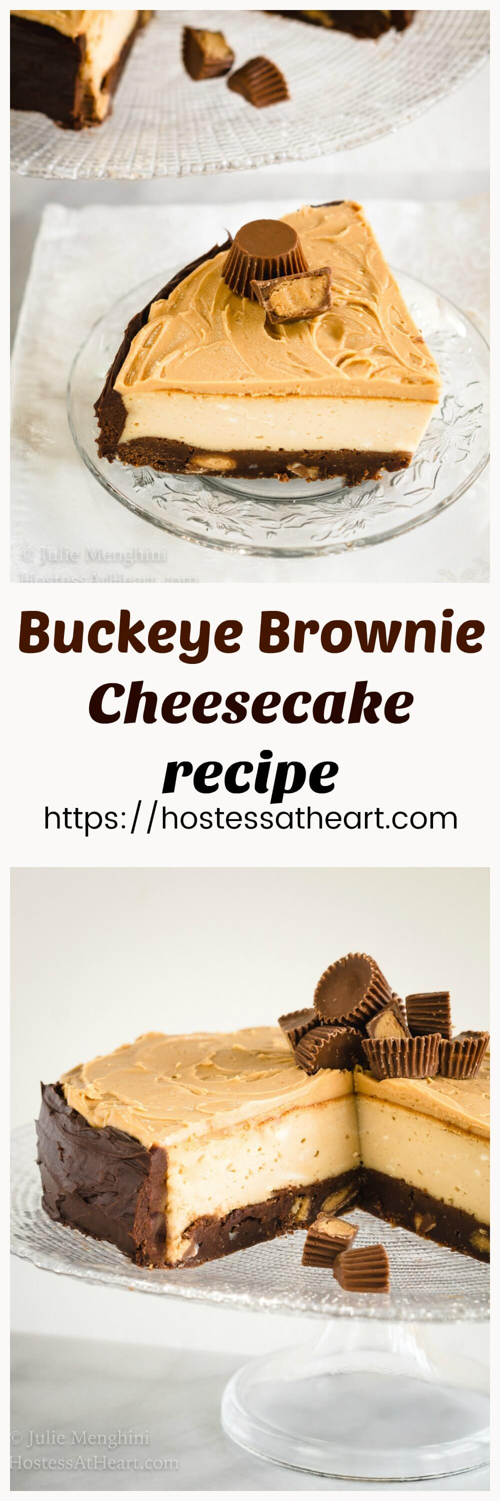 Buckeye Brownie Cheesecake is even better than it looks.  The looks that you get when you cut into that cake will have you making it over and over. #Cheesecake #Cheesecakedessert #ChocolateDessert #homemade #Comfortfood | Chocolate Dessert | Cheesecake Dessert | Easy Cheesecake