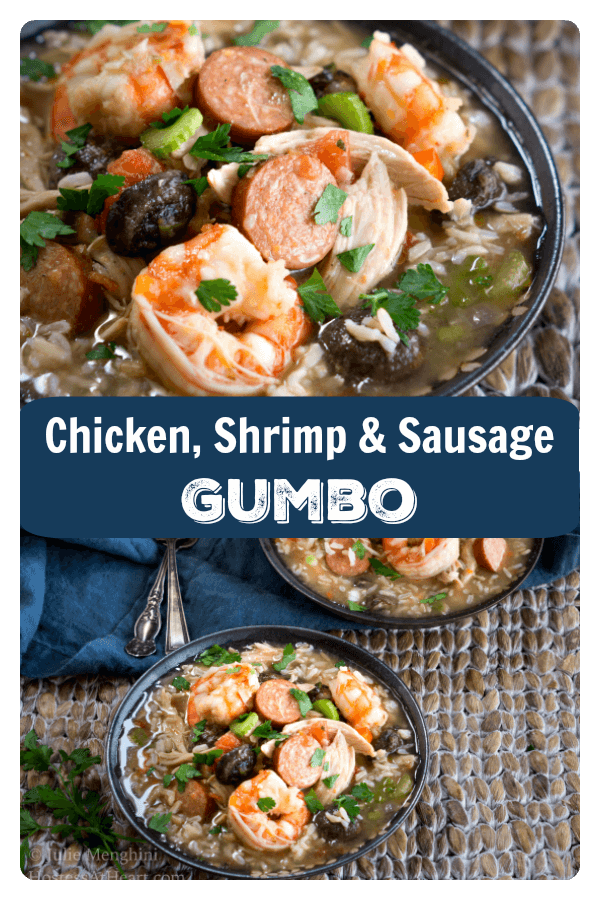 Chicken, Shrimp, and Sausage Gumbo has a deep, smooth and savory flavor with a subtly spicy finish. One bowl is a complete and filling meal. #mardigras #gumbo #seafood #cajun | Gumbo Recipe Easy | Seafood Gumbo | Cajun Recipes | Mardi Gras Food