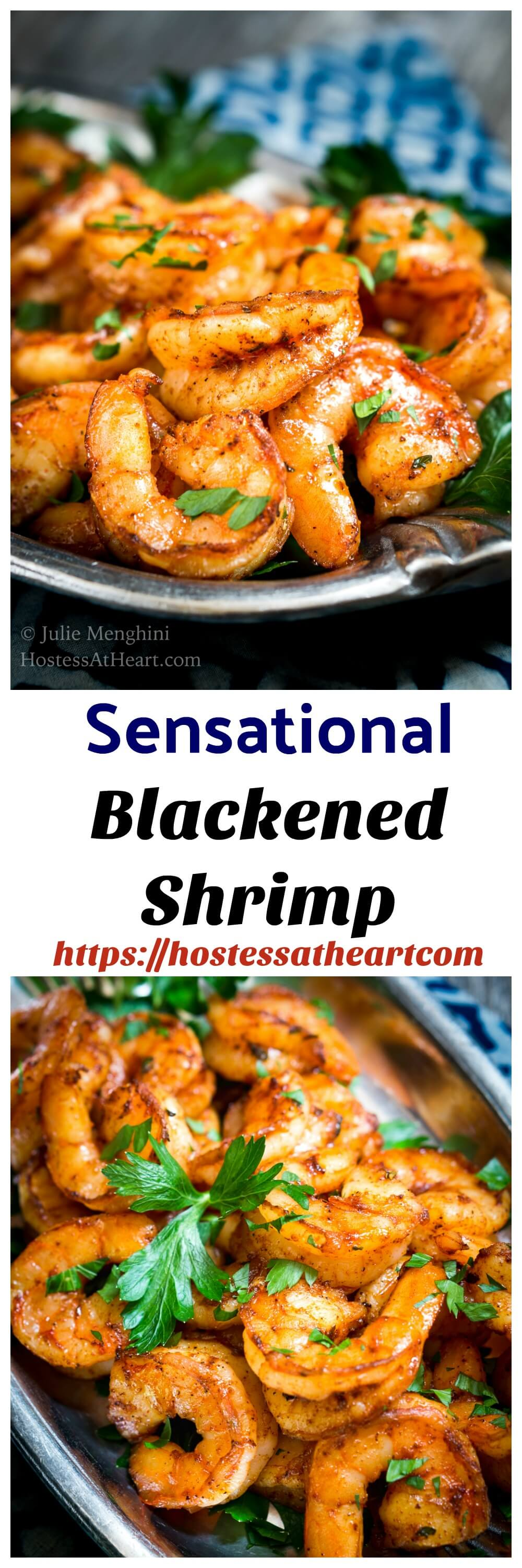 Sensational Baked Blackened Shrimp Recipe is delicious and so versatile. It makes a great appetizer or is perfect for tacos or on pasta. Best of all, it takes 10 minutes from start to finish! #recipe #appetizer #healthyrecipe #seafood #shrimp | Easy Recipes | Healthy recipes | Easy Appetizers | Shrimp recipes