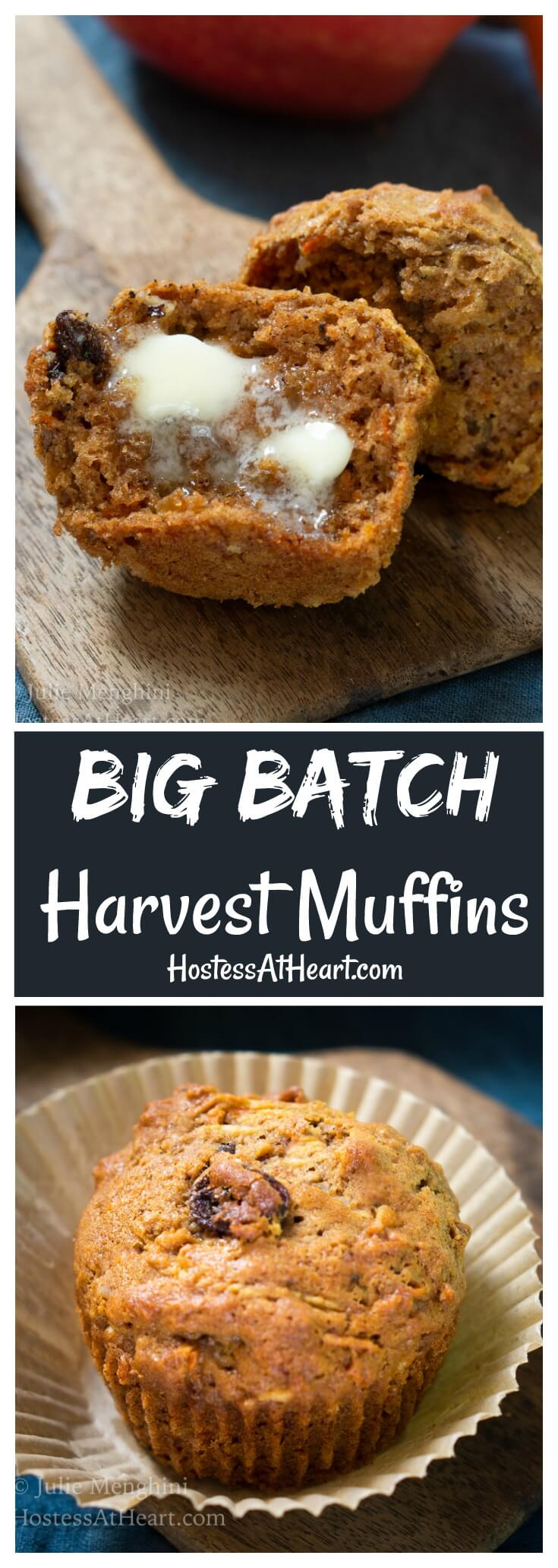 Big Batch Whole Wheat Harvest Muffins are warm, tender and delicious. They'll feed a crowd and freeze well making them a perfect make-ahead anytime muffin. #muffins, #MuffinRecipes, #Bake
