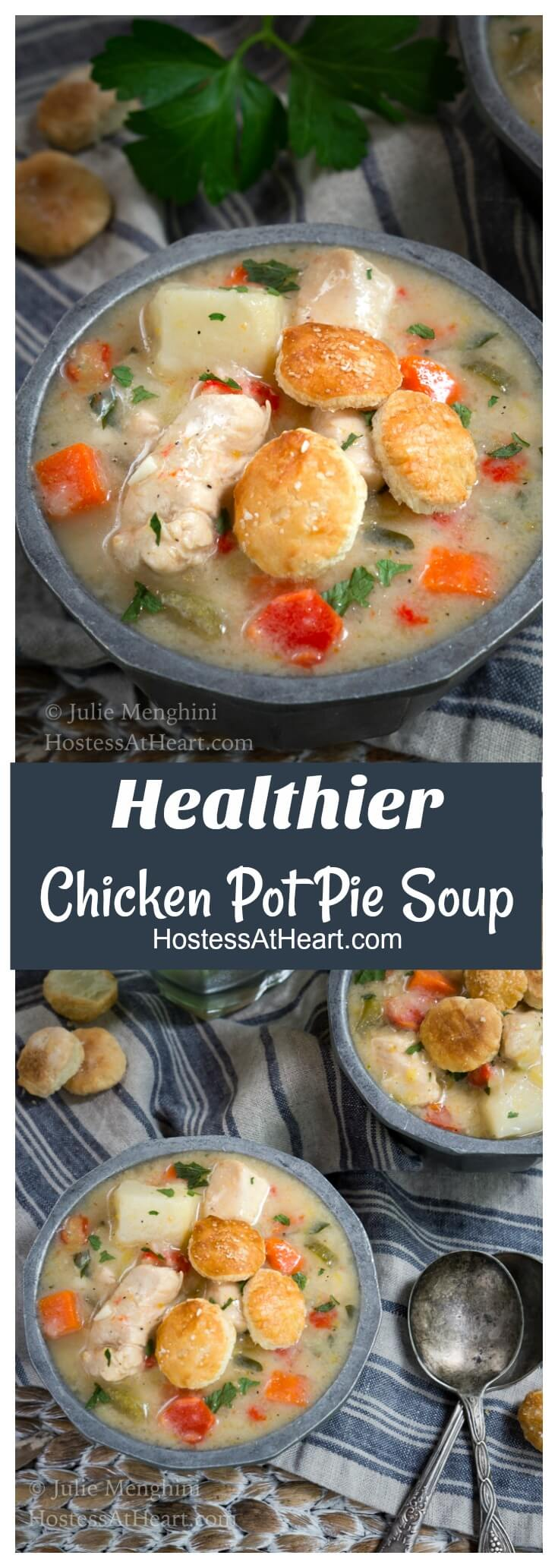 This Healthier Chicken Pot Pie Soup is a delicious and creamy recipe.  The only thing missing is all of the extra fat, sodium, and calories. HostessAtHeart.com #souprecipes, #soup, #chickenrecipes, #Chicken, #cookinglight, #healthyrecipes #healthy #healthyfood
