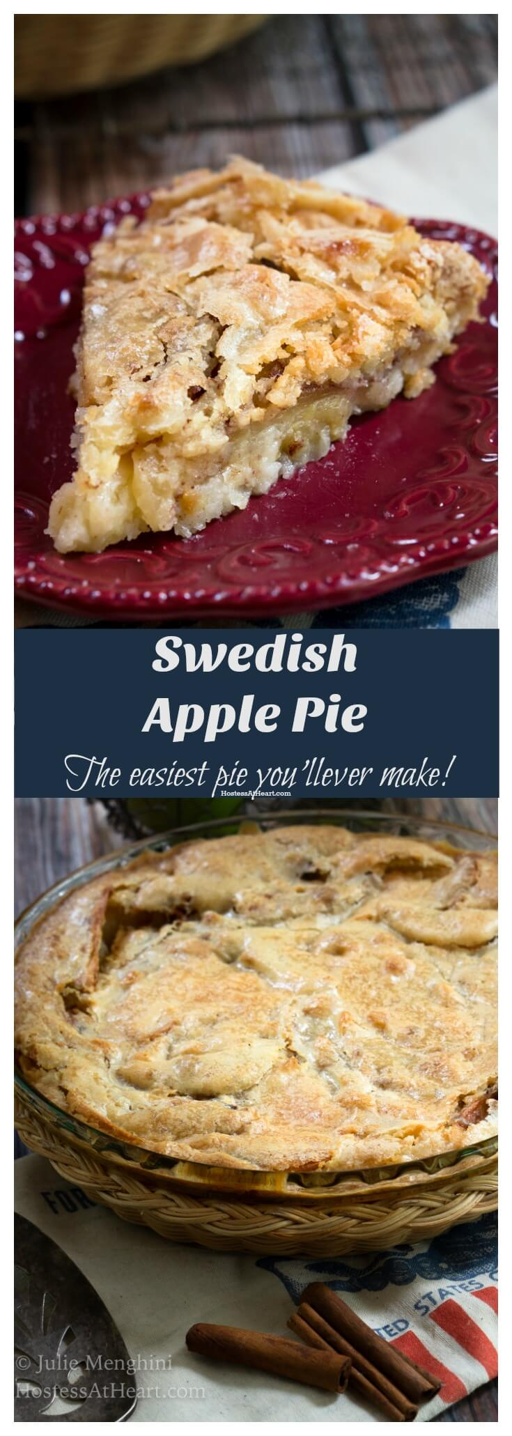 This Swedish Apple Pie is just as easy to make as it is delicious to eat. It's the perfect no-fuss pie for an easy dessert or for the beginnerbaker! HostessAtHeart.com #pie #applepie #piday #swedish #swedishapplepie #thanksgiving #christmas #easter #dessert #recipe #numstheword