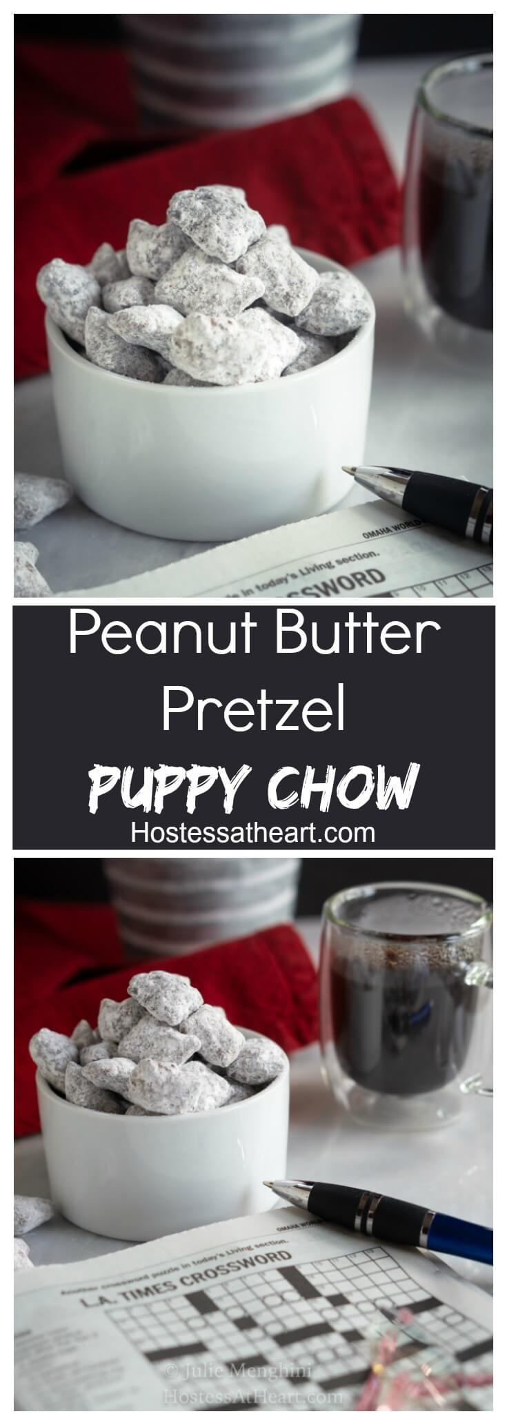This Peanut Butter Pretzel Puppy Chow recipe is going to change your puppy chow world.  They're sweet, crunchy, and satisfy that peanut butter craving! | HostessAtHeart.com #FreakyFridayRecipes #puppychow #snacks #snackfood #snackrecipes #christmas #christmastreats