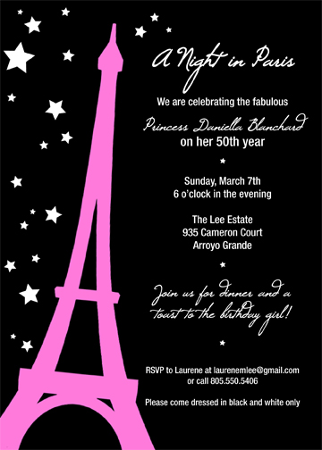 paris themed invitation