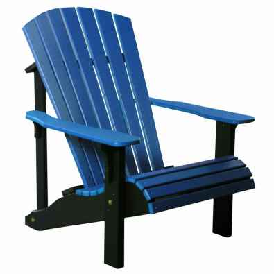 LuxCraft Poly Deluxe Adirondack Chair Blue & Black