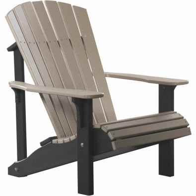 LuxCraft Poly Deluxe Adirondack Chair Weatherwood & Black