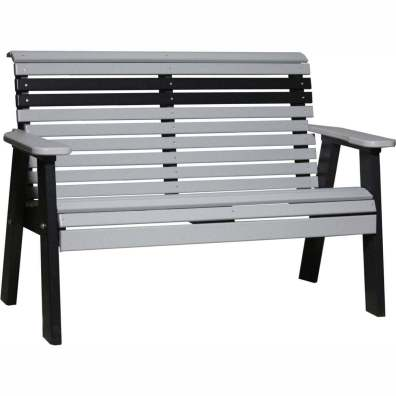 LuxCraft Poly 4' Plain Bench Dove Gray & Black
