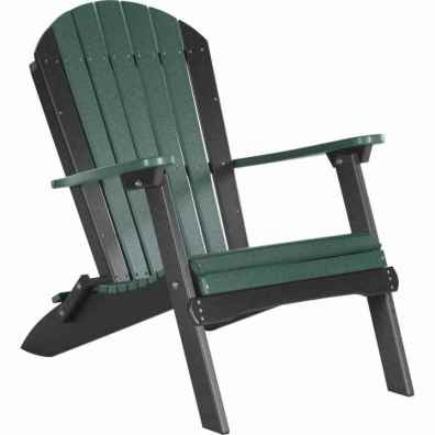 LuxCraft Poly Folding Adirondack Chair Green & Black