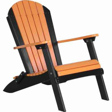 LuxCraft Poly Folding Adirondack Chair Tangerine & Black