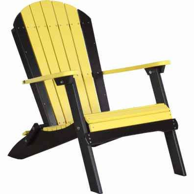 LuxCraft Poly Folding Adirondack Chair Yellow & Black