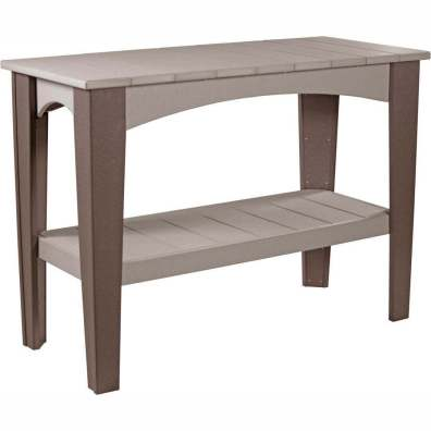 LuxCraft Poly Island Buffet Table Weatherwood & Chestnut Brown