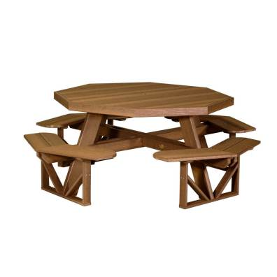 LuxCraft Poly Octagon Picnic Table Antique Mahogany