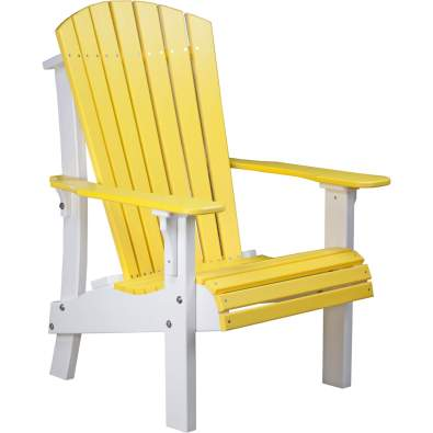 LuxCraft Poly Royal Adirondack Chair Yellow & White