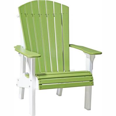 LuxCraft Poly Royal Adirondack Chair Lime Green & White