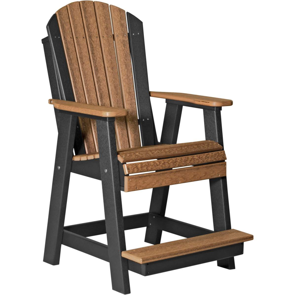 PABCAMB Poly Adirondack Balcony Chair (Antique Mahogany & Black)