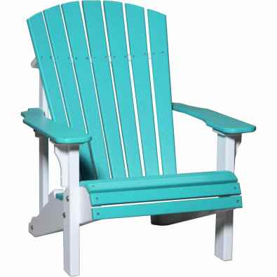 LuxCraft Poly Deluxe Adirondack Chair Aruba Blue & White